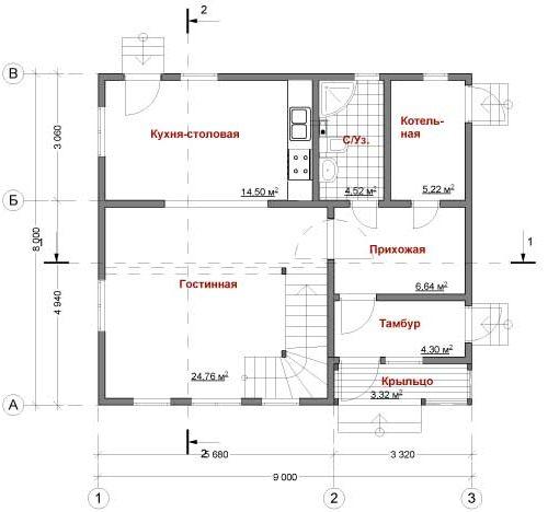 план первого этажа дома Модис