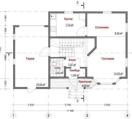 план первого этажа дома Орион