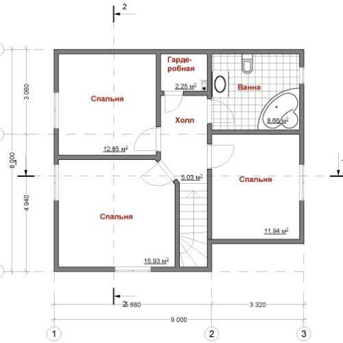план второго этажа дома Модис