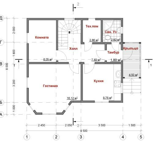 план первого этажа дома Пегас