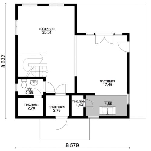 план первого этажа дома Экодом