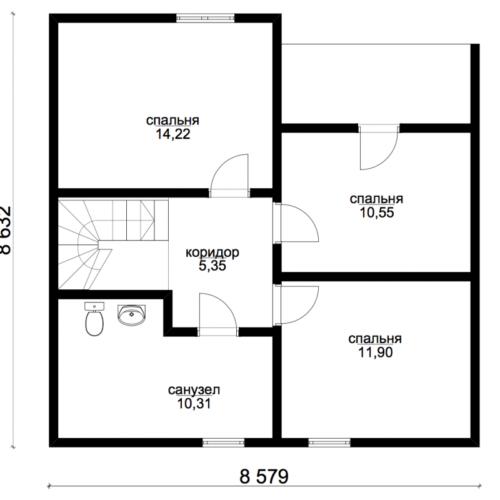 план второго этажа дома Экодом