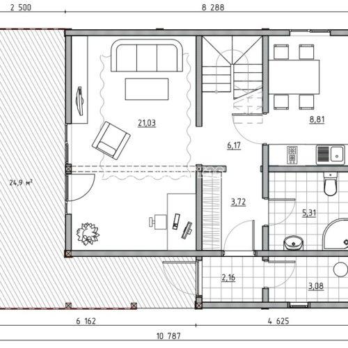 план 1 этажа дома лесной