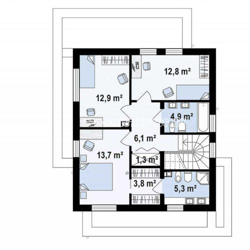 план 2 этажа дома модерн 1