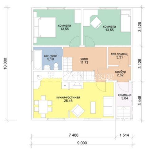 план 1 этажа дома с мансардой омега