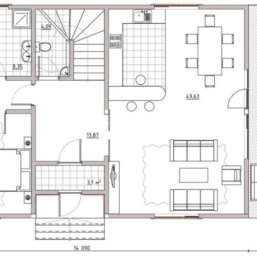 план 1 этажа двухэтажного дома орион 104