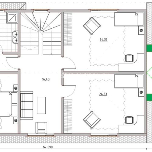 план 2 этажа двухэтажного дома орион 104