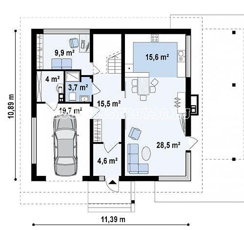 план 1 этажа дома с гаражом персей