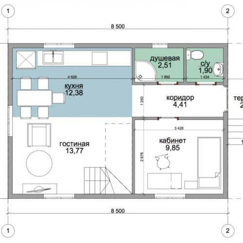 план первого этажа дома Техас
