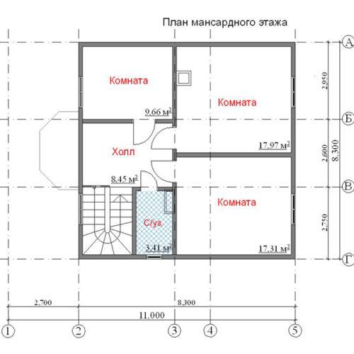 план мансарды дома Волопас
