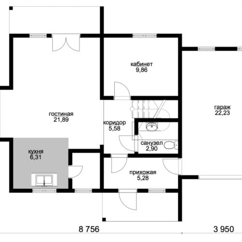 план первого этажа дома Эталон 2