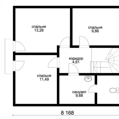 план второго этажа дома Эталон 2