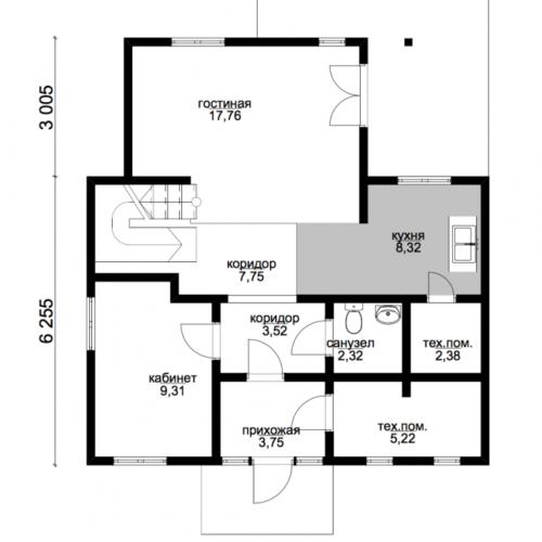 план первого этажа дома Эталон 1