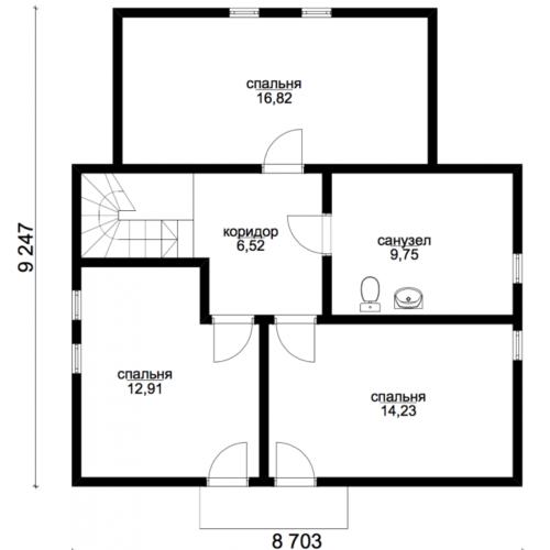 план второго этажа дома Эталон 1