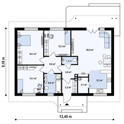 план 1 этажа дома из сип панелей лукреция
