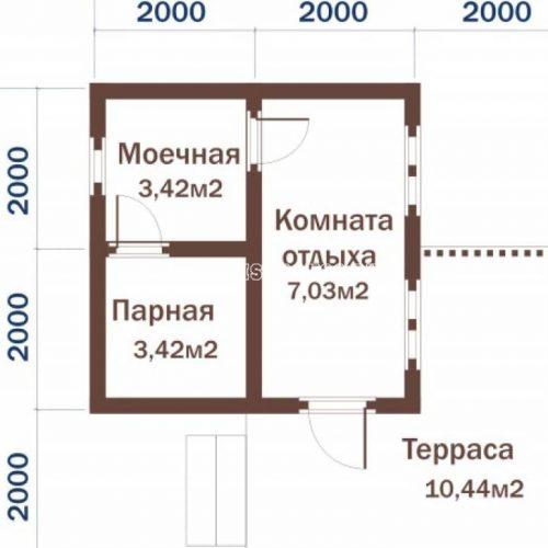 план бани с террасой б-6