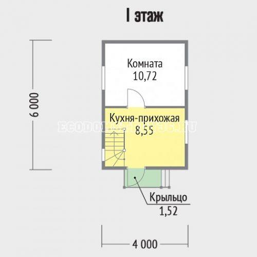 план 1 этажа дачного домика дд-8
