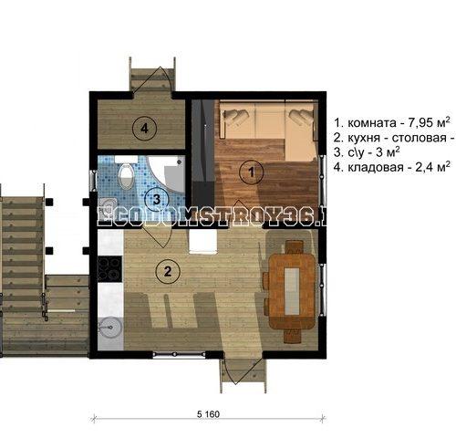 план 1 этажа дачи из сип панелей дд-4