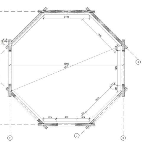 План восьмиугольной беседки из СИП-панелей